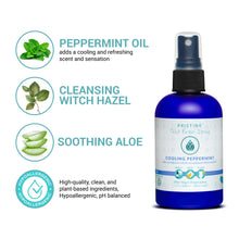 Pristine cooling toilet paper spray wet wipe alternative infographic of ingredients - peppermint oil, witch hazel, aloe