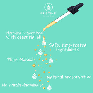 Pristine Sprays flushable wet wipe alternative - essential oil droplet dropping list of  clean ingredients, no harsh chemicals, natural fragrance, plant-based ingredients