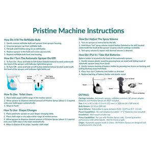 Pristine automatic toilet paper spray dispenser use and care instructions.