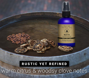 Pristine toilet paper spray wet wipe alternative Rustic spray bottle with clove bud and bergamot essential oil spices