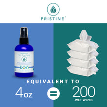 Pristine Cooling toilet paper spray wet wipe alternative comparison 4 oz bottle to 200 wet wipes