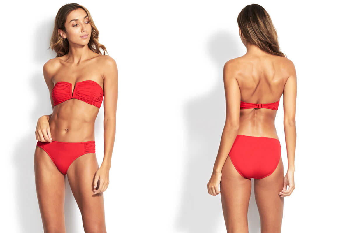 Seafolly Ruched Side Retro Bottom in Chilli Red