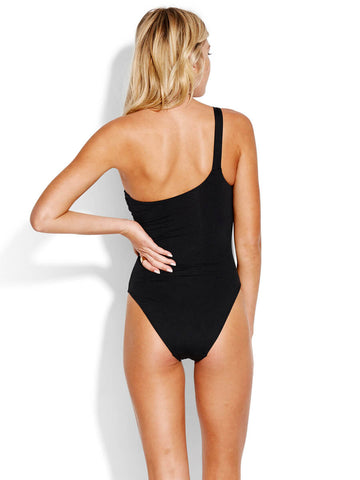 Seafolly Active One Shoulder Maillot Black
