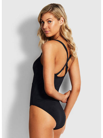 Seafolly Pintuck Maillot Black
