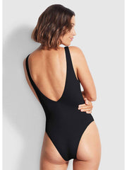 Seafolly Sea Dive Deep V Neck Maillot In Black, view 2, click to see full size