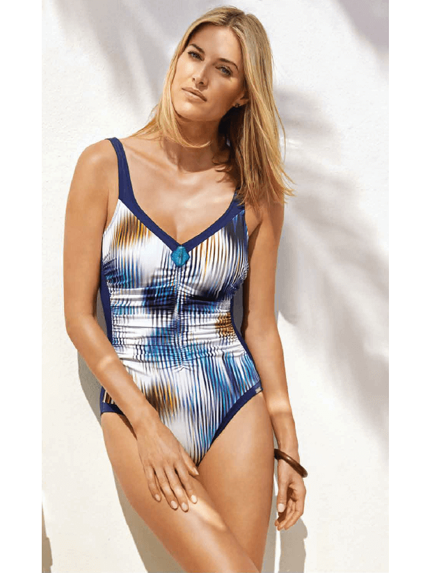 Charmline One Piece Ruched Blurred Blue