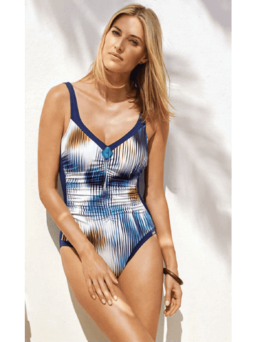 Charmline Aquarius Flame Ruched One Piece Blurred Blue