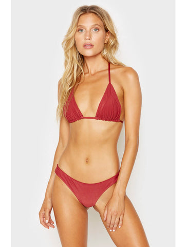 Frankies Bikinis Sky Ribbed Top Cabernet