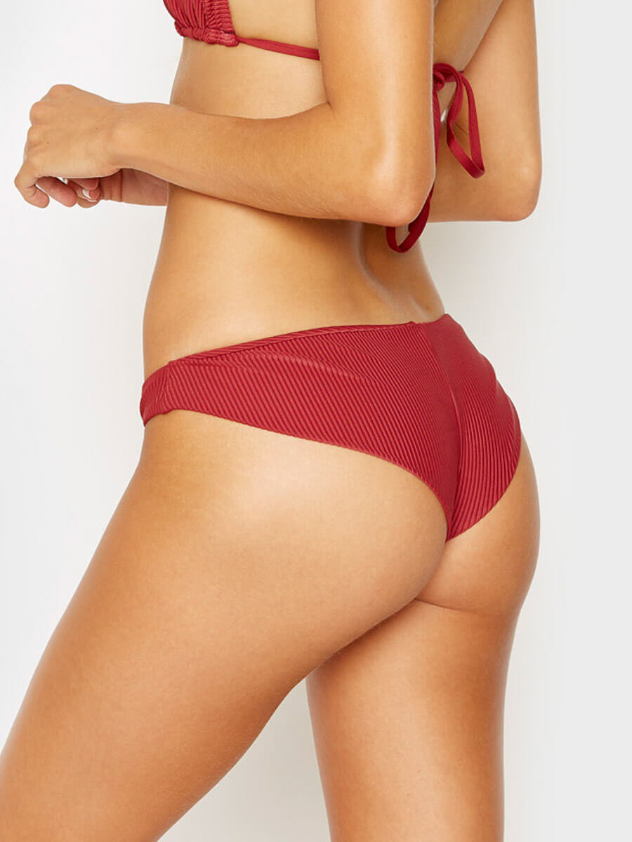 Frankies Bikinis Greer Ribbed Cheeky Bottom Cabernet