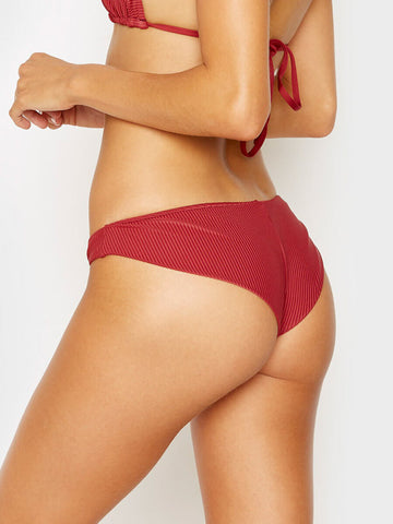 Frankies Bikinis Greer Ribbed Cheeky Pant Cabernet