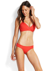 Seafolly Quilted Hipster Chilli, view 3, click to see full size