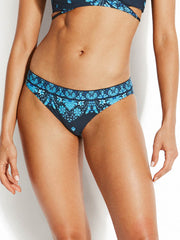 Seafolly Sunflower Border Hipster Indigo, view 1, click to see full size