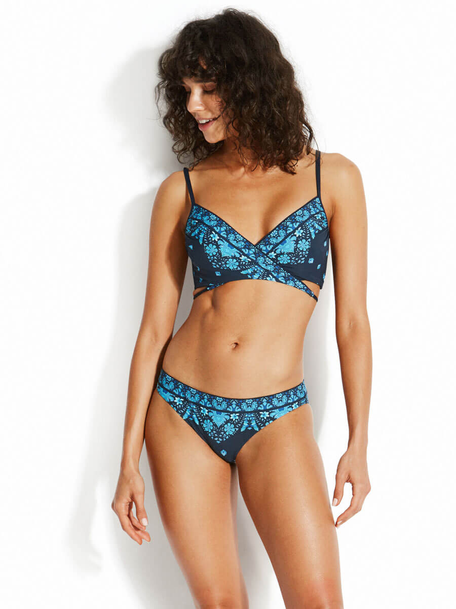 Seafolly Sunflower Border Hipster Indigo