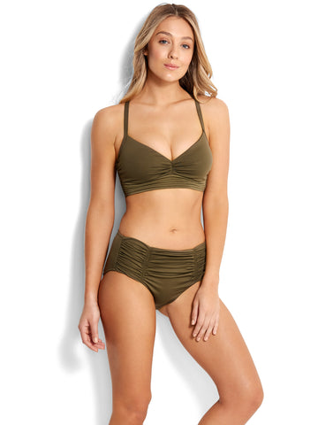 Seafolly Quilted DD Cup Bralette Dark Olive