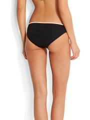 Seafolly Dawn To Dusk Embroider Hipster Black, view 2, click to see full size
