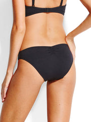 Seafolly Mini Hipster Gathered Back Black, view 2, click to see full size
