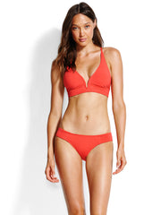 Seafolly Quilted Longline Triangle Chilli, view 1, click to see full size