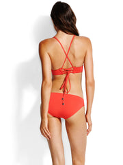 Seafolly Quilted Longline Triangle Chilli, view 2, click to see full size