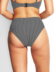 Seafolly Go Overboard Retro V Front Bottom Black, view 2, click to see full size