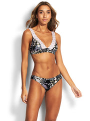 Seafolly Free Spirit Banded Triangle Bra Black, view 1, click to see full size