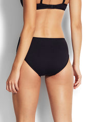 Seafolly Mid Rise Bottoms Black, view 2, click to see full size