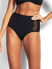 Seafolly Petal Edge High Waist Bottom Black, view 1, click to see full size