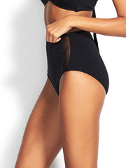 Seafolly Petal Edge High Waist Bottom Black, view 3, click to see full size