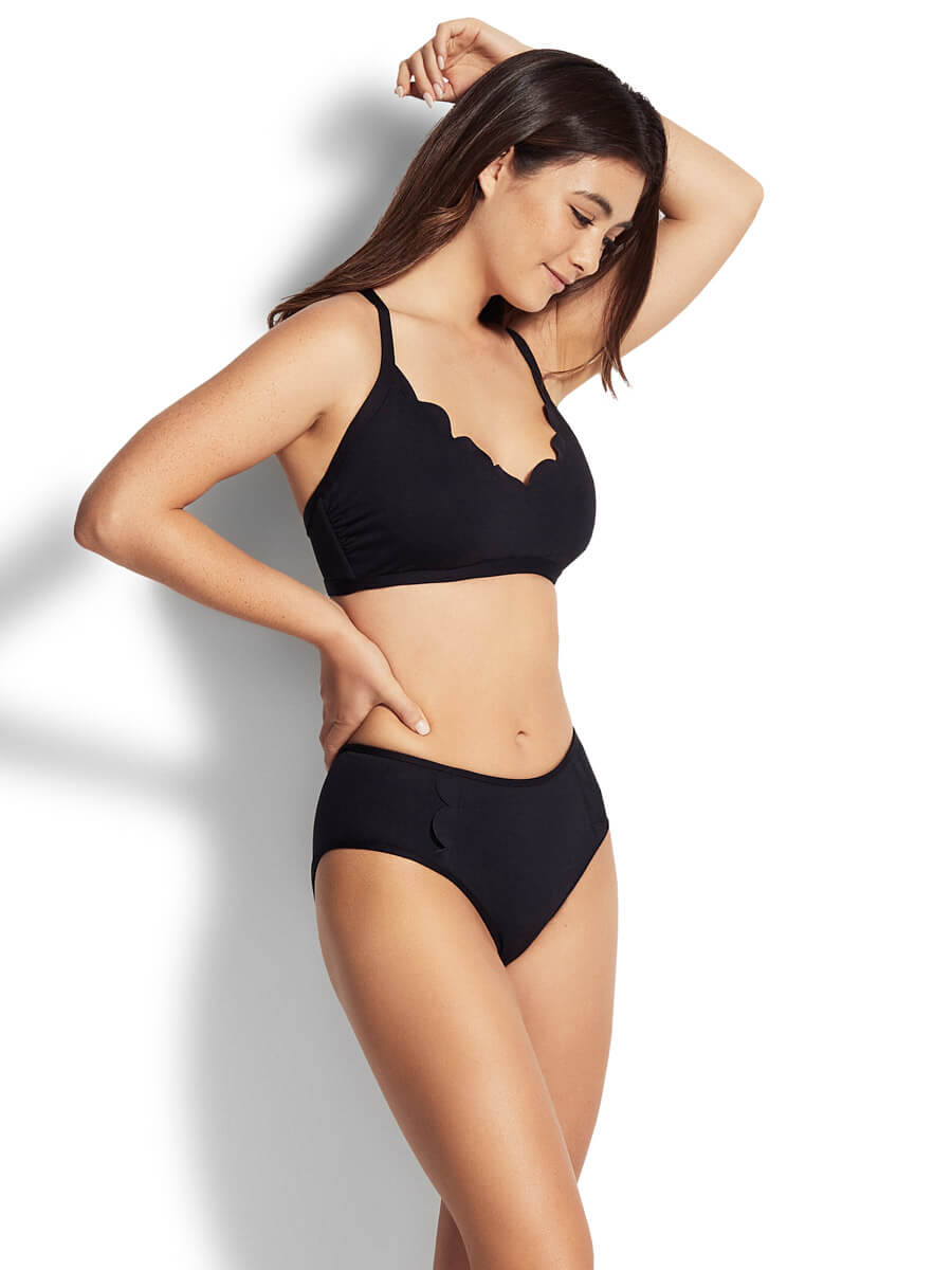 Seafolly Mid Rise Bottoms Black