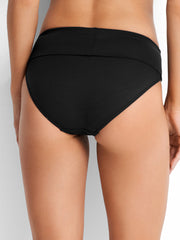 Seafolly Roll Top Retro Bottom Black, view 2, click to see full size