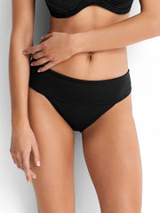 Seafolly Roll Top Retro Bottom Black, view 1, click to see full size