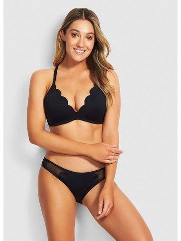 Seafolly Petal Edge D Cup Bralette Black