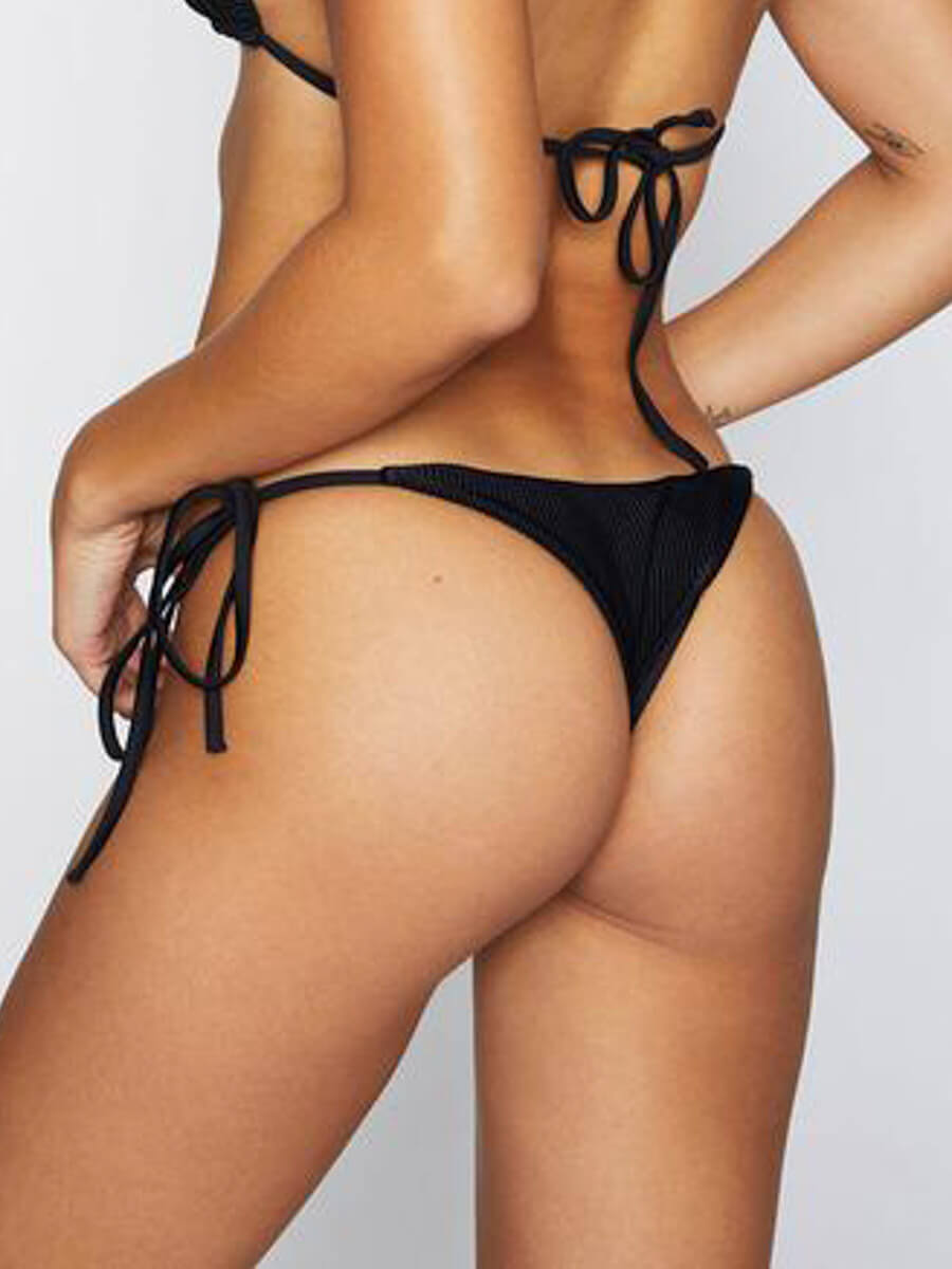 Frankies Bikinis Sky Ribbed Skimpy Bottom Black