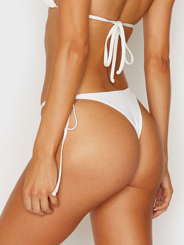 Frankies Bikinis Sky Ribbed Skimpy Bottom White