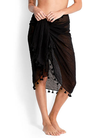 Seafolly Cotton Gauze Sarong Black