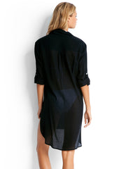 Seafolly Crinkle Twill Beach Shirt Black