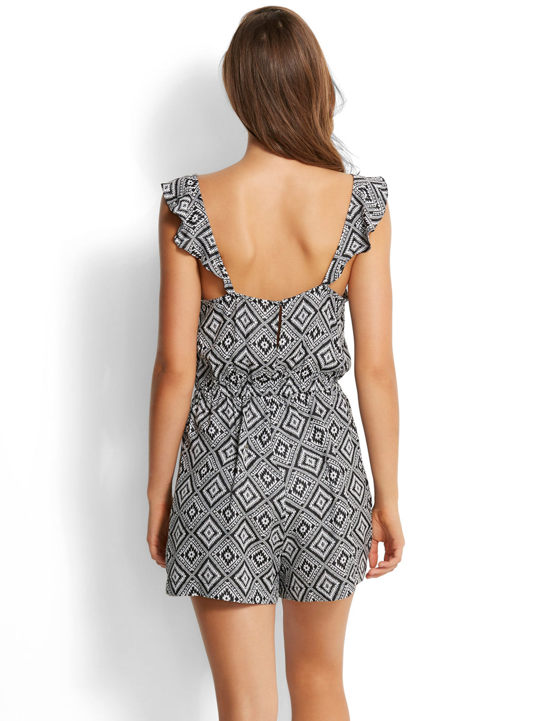 Seafolly Tribal Jacquard Playsuit Black
