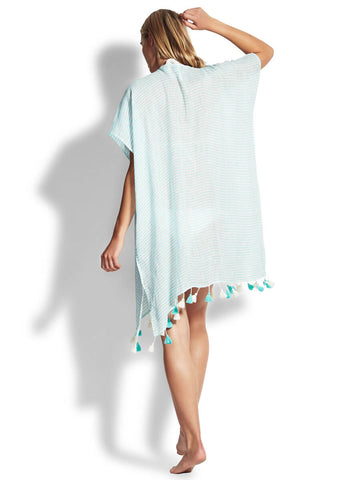 Seafolly Linen Stripe Kaftan Antigua Blue