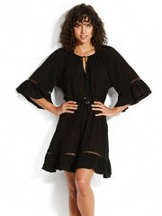 Seafolly Bell Sleeve Cover Up Black