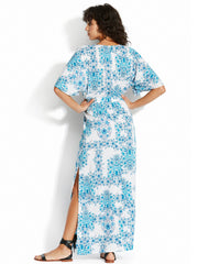 Seafolly Sunflower Maxi Dress Electric Blue, view 2, click to see full size