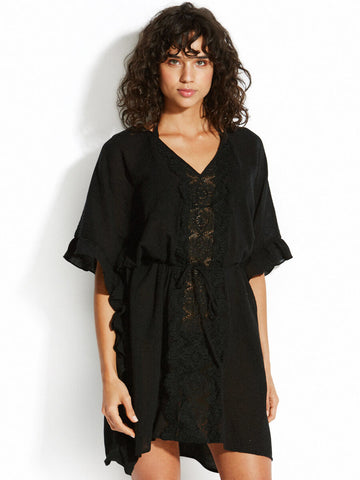 Seafolly Lace Trim Kaftan Black