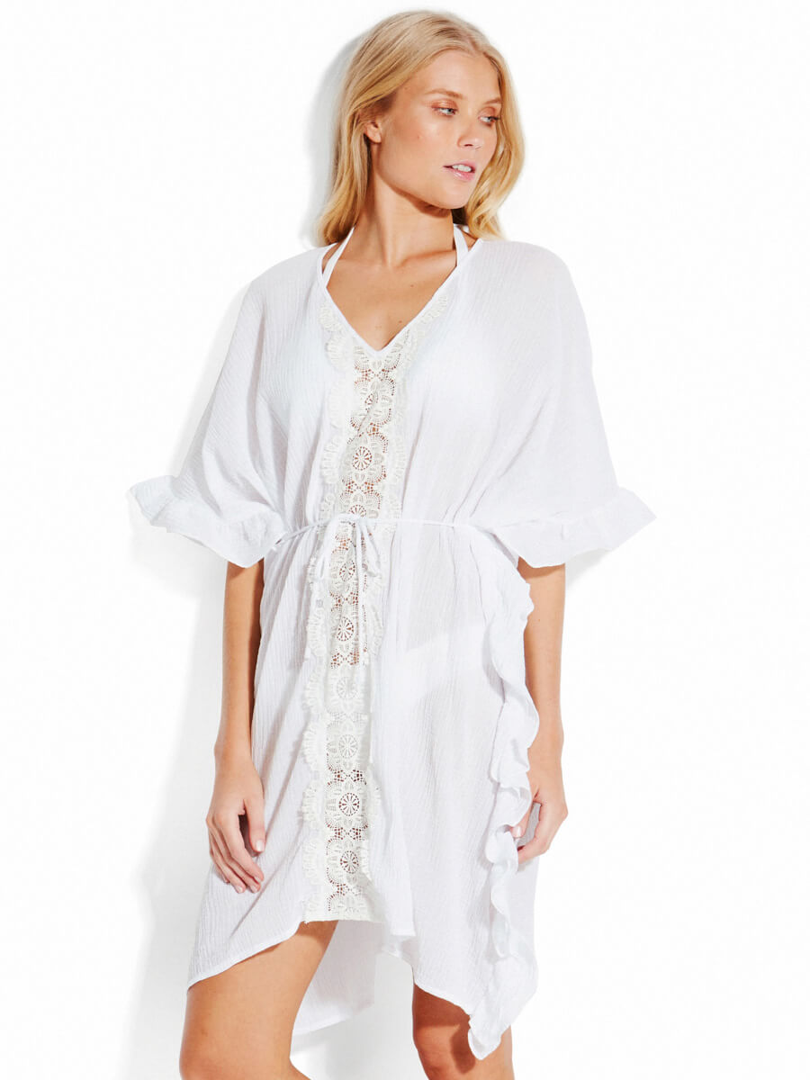 Seafolly Lace Trim Kaftan White