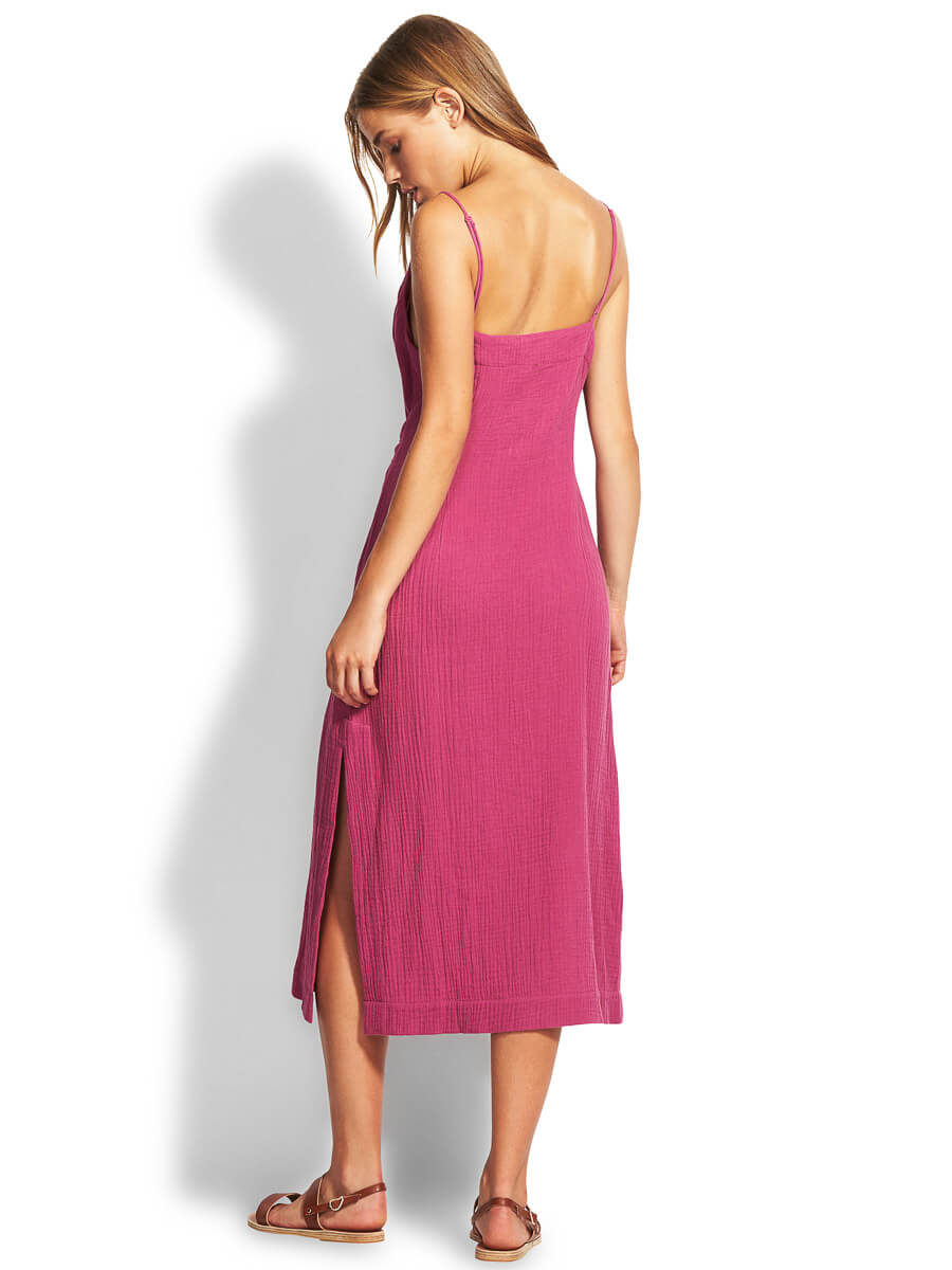 Seafolly Tie Front Slip Dress Magenta Haze