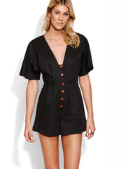 Seafolly Button Up Playsuit Black, view 1, click to see full size