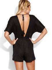 Seafolly Button Up Playsuit Black, view 2, click to see full size