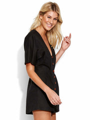 Seafolly Button Up Playsuit Black, view 3, click to see full size