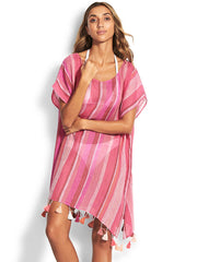 Seafolly Sunset Stripe Linen Kaftan Magenta Haze, view 1, click to see full size