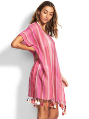 Seafolly Sunset Stripe Linen Kaftan Magenta Haze, view 3, click to see full size