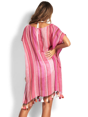 Seafolly Sunset Stripe Linen Kaftan Magenta Haze