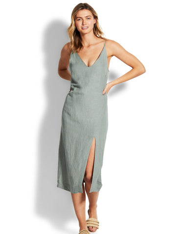 Seafolly Linen Blend Slip Dress Sage