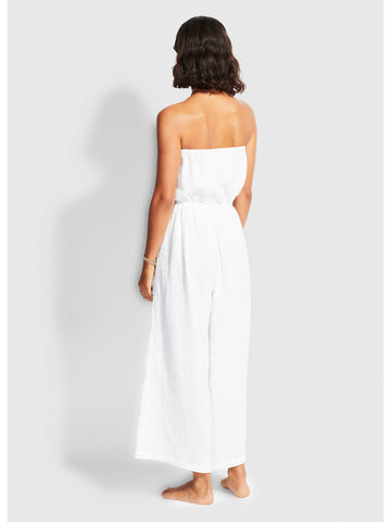 Seafolly Double Cloth Strapless Jumpsuit In White